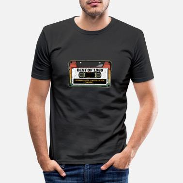Best Of 1980 Vintage Cassette Funny Birthday Gift - Men's Slim Fit T-Shirt