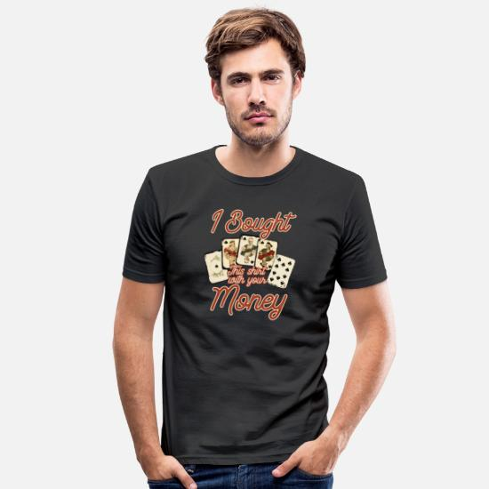 Poker T-Shirts - Funny Poker Face Ace Bluff Texas Holdem Gift - Men's Slim Fit T-Shirt black