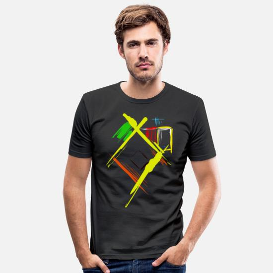 Tosset T-shirts - Abstrakt kunst - Slim fit T-shirt mænd sort