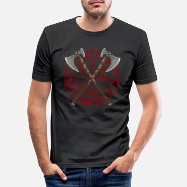 Hache Haches Viking (rouge) - T-shirt moulant Homme