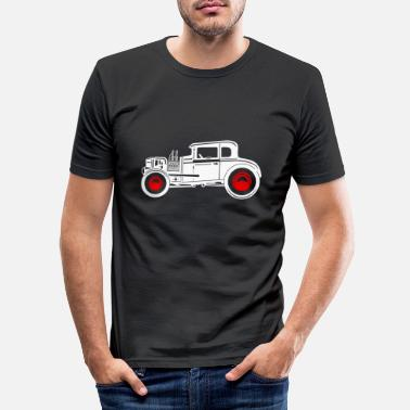 Rot Hotrod Hot Classic Car Rod - Männer Slim Fit T-Shirt