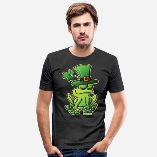 Day T-Shirts - Saint Patrick's Day Frog - Men's Slim Fit T-Shirt black