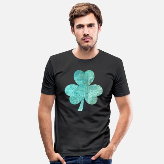 Three Leafed Clover T-Shirts - Clover! - Men's Slim Fit T-Shirt black