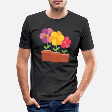 Ark Tre farverige blomster So728 design - Slim fit T-shirt mænd