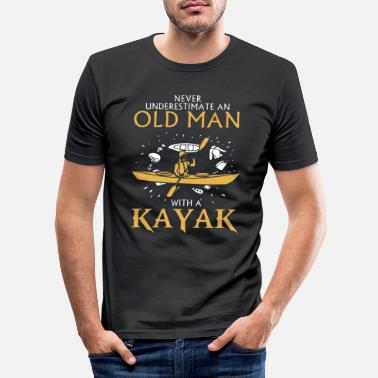 Man Old Man with a Kayak Gift Hobby - Men's Slim Fit T-Shirt