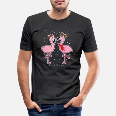 Hiver Flamants roses neige hiver noel - T-shirt moulant Homme