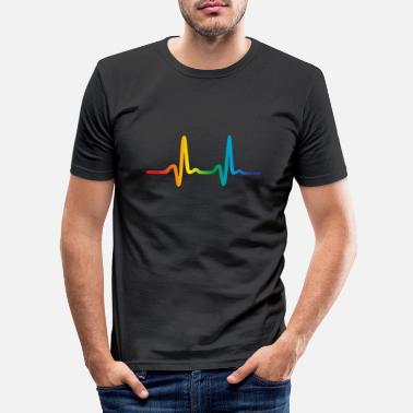Pride Rainbow Heartbeat, Lgbt Pride Ecg Pulse - Mannen slim fit T-shirt