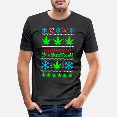 Christmas Green Ugly Xmas Sweater Weed - Mannen slim fit T-shirt