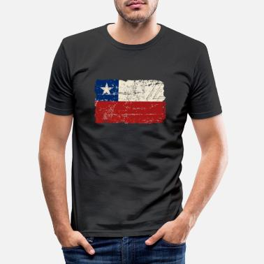 Chili Chile Flag - Vintage Look - T-shirt moulant Homme