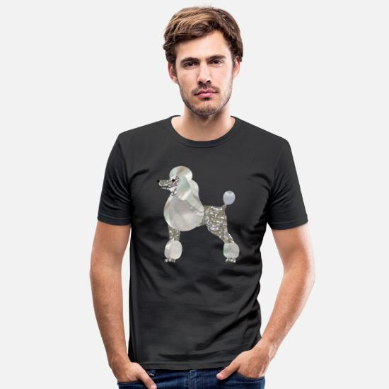 Poodle T-Shirts - Luxury Pearl and Abalone Poodle - Men's Slim Fit T-Shirt black