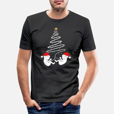 Cool Christmas Pregnancy Baby Twins Xmas Announcement - Men's Slim Fit T-Shirt