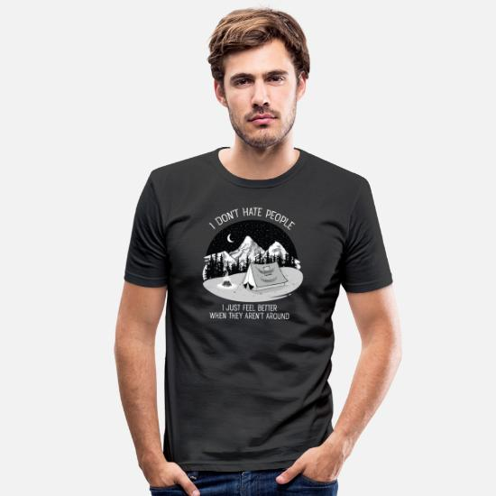 Camping Camisetas - I Don't Hate People...Mountains, Camping, Campfire - Camiseta ajustada hombre negro