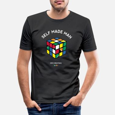 Cube Rubik's Cube Self Made Man No Cheating - Men's Slim Fit T-Shirt