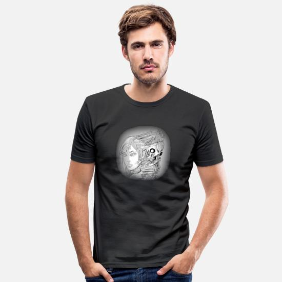 Pirate T-Shirts - Cartoon skeleton - Men's Slim Fit T-Shirt black