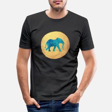 Luxus Mandala Elefant Gold Kreis Yoga Indien Meditation - Männer Slim Fit T-Shirt