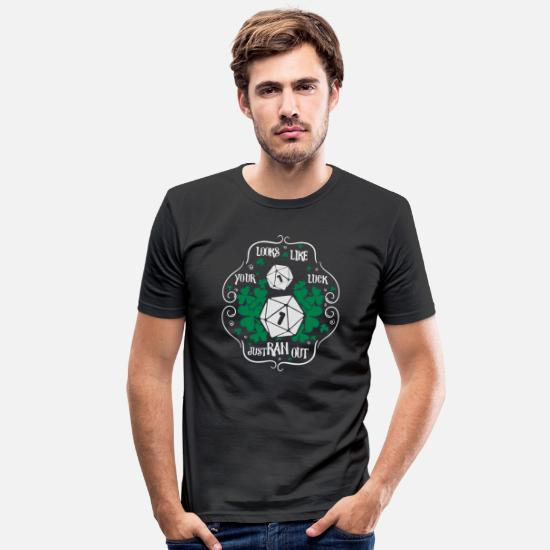 Luck T-Shirts - Pen and paper clover dice - Men's Slim Fit T-Shirt black