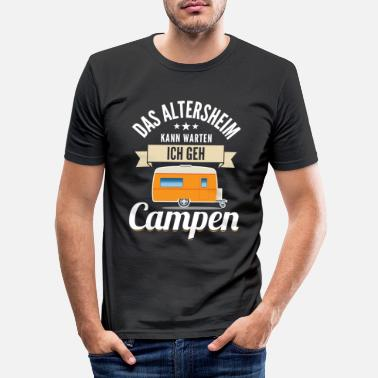 Warten Camping Design für Rentner Lustiges Design Pension - Männer Slim Fit T-Shirt