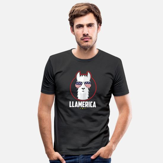 Llamerica T-Shirts - Independence Day 4th July - LLAMERICA - T-Shirt - Men's Slim Fit T-Shirt black