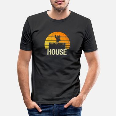 House House Music Techno DJ Party Summer Retro Gift - Men's Slim Fit T-Shirt