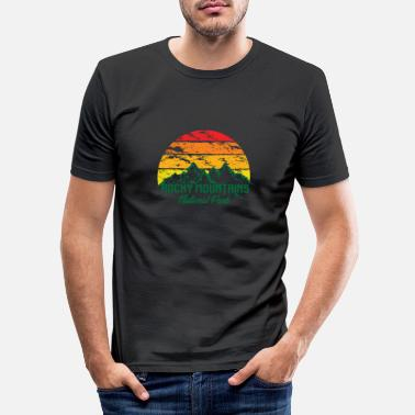 Mountains Rocky Mountains National Park Logo Colorful Mountains - Men's Slim Fit T-Shirt