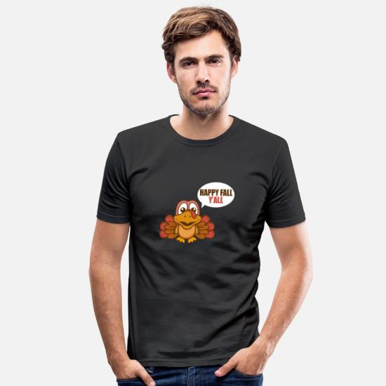 Grande T-shirts - Thanksgiving Turkey Funny Autumn Food Gift - T-shirt moulant Homme noir