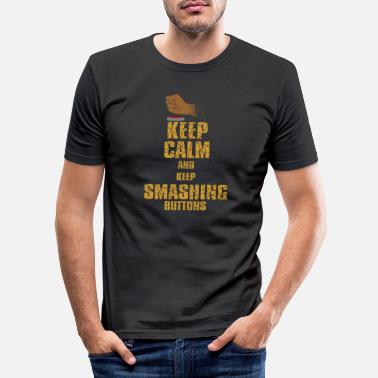 Maus Keep Calm and Keep Smashing Buttons Lustiges Gamer - Männer Slim Fit T-Shirt