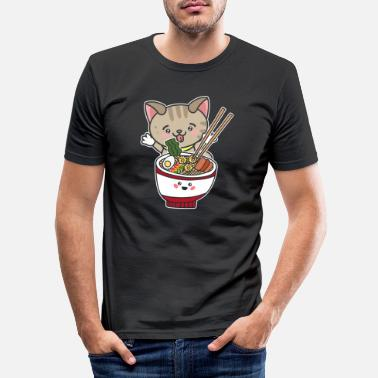 Nourriture Impression de cadeau Kawaii Japanese Anime Ramen Noodle Cat - T-shirt moulant Homme