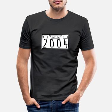 16 Made In 2004 - Plate Number Design - Men's Slim Fit T-Shirt