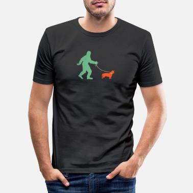 Yeti Morsom Bigfoot Walking Lancashire Heeler skjorte - Sa - Slim fit T-skjorte for menn