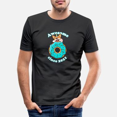 Small Awesome since 2021 Puppy Donut Birthday - Men's Slim Fit T-Shirt