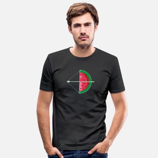 Arrow And Bow T-Shirts - Bow and arrow watermelon archery - Men's Slim Fit T-Shirt black