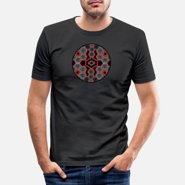 Geometric Design Trippy T-Shirt - Techno - Goa - Geometry - Rave - Men's Slim Fit T-Shirt