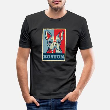 Obama Boston Terrier Dog Retro Vintage Obama Gift - Obcisła koszulka męska