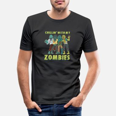 Bold Chillin With My Zombies - Gift - Men's Slim Fit T-Shirt