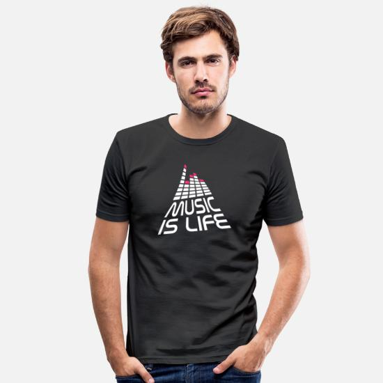 Heart T-Shirts - music is life 3d I EN - Men's Slim Fit T-Shirt black