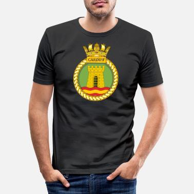 Navy HMS Cardiff - Männer Slim Fit T-Shirt