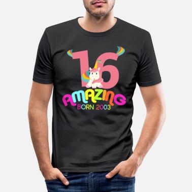 Edad 16th Birthday Celebration Gift Amazing Since 2003 - Camiseta ajustada hombre