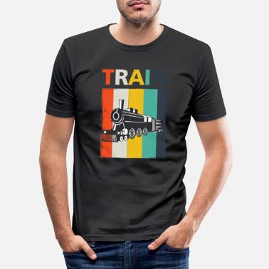 Public Transportation Railroad Railway Locomotive Public Transportation - Men's Slim Fit T-Shirt