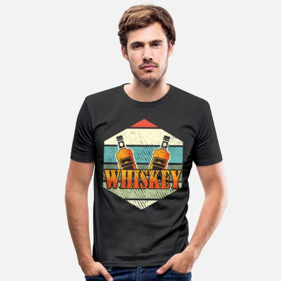 Alcohol T-Shirts - Whiskey Old Fashioned Bourbon Drink single malt - Men's Slim Fit T-Shirt black