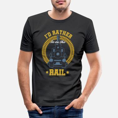 Public Transportation Railroad Railway Public Transportation Locomotive - Men's Slim Fit T-Shirt