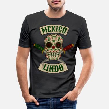 Mexicaanse Mexicaanse schedel met vintage dolken Mexico Lindo - Mannen slim fit T-shirt