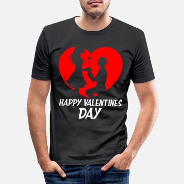 Friends Date Happy Valentines Day Couples Date Hearts Cupid - Men's Slim Fit T-Shirt