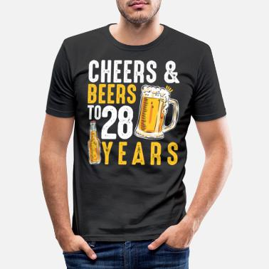 Cheers 28th Birthday Gifts Drinking Shirt for Men or - Men's Slim Fit T-Shirt