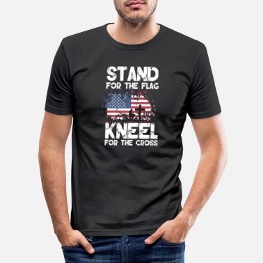 Stand Stand For The Flag Kneel For The Cross - Men's Slim Fit T-Shirt