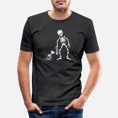 Fish Bone Cat likes fish bone skeleton - Men's Slim Fit T-Shirt