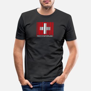 Switzerland Switzerland Switzerland Barcode Made in - Men's Slim Fit T-Shirt