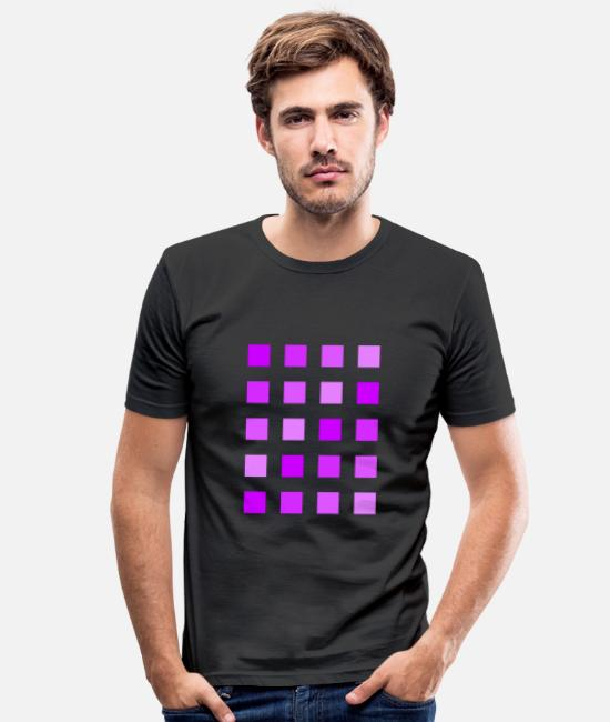 Spring T-Shirts - Purple violet lilac squares - Men's Slim Fit T-Shirt black