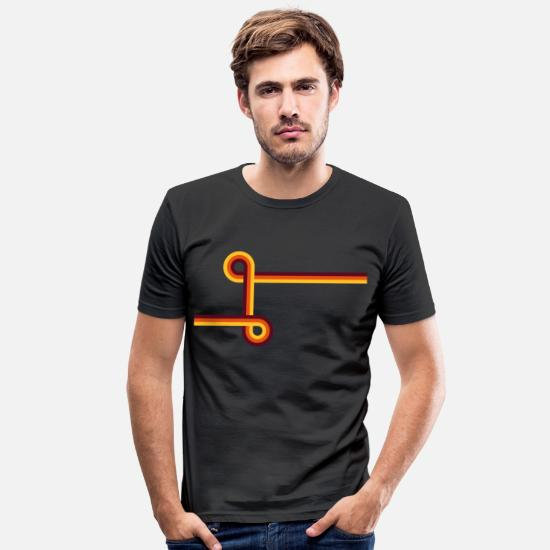 Retro T-Shirts - Retro stripe with intersecting circles - Men's Slim Fit T-Shirt black