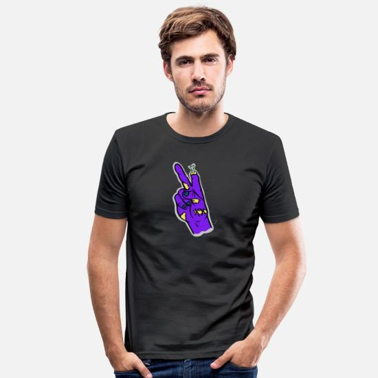 Peacetegn T-shirts - Zombie Hånd Peace Sign Halloween - Slim fit T-shirt mænd sort