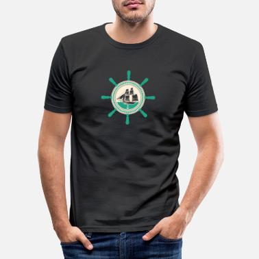 North Sea North German Platt saying gift · steering wheel - Men's Slim Fit T-Shirt